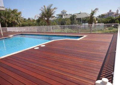 pool deck made with Abaco tropical hardwood deck boards